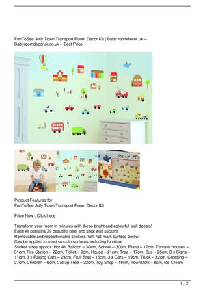 FunToSee Jolly Town Transport Room Decor Kit Big Discount