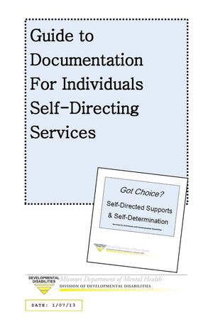 Guide to Documentation for Individuals Self-Directing Services
