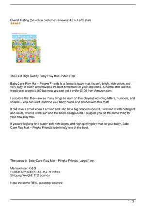 Baby Care Play Mat – Pingko Friends (Large) Review