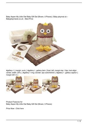 Baby Aspen My Little Owl Baby Gift Set (Brown, 5 Pieces) Promo Offer