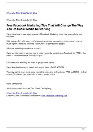 Free Facebook Marketing Tips