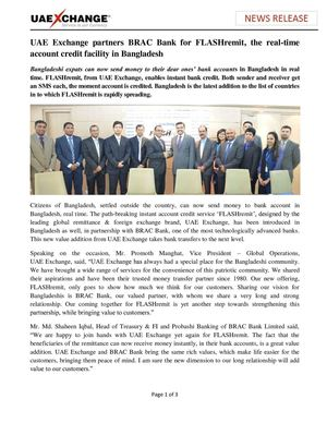 UAE Exchange partners BRAC Bank for FLASHremit, the real-time account credit facility in Bangladesh