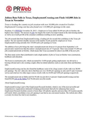 Jobless Rate Falls in Texas, EmploymentCrossing.com Finds 143,000 Jobs in Texas in November