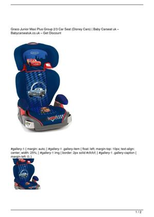 Graco Junior Maxi Plus Group 2/3 Car Seat (Disney Cars) Big SALE