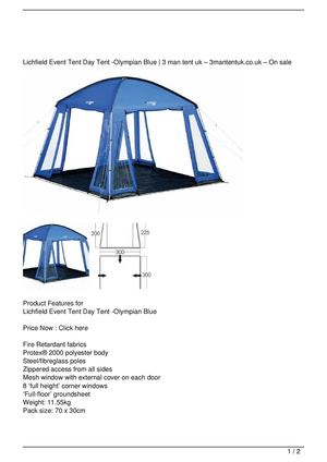 Lichfield Event Tent Day Tent -Olympian Blue On Sale