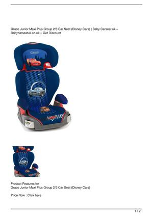 Graco Junior Maxi Plus Group 2 3 Car Seat Disney Cars Big SALE