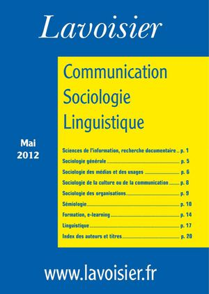Catalogue Communication Sociologie Linguistique mai 2012 éditions Lavoisier