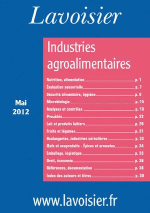 Catalogue Industries agroalimentaires mai 2012 éditions Lavoisier