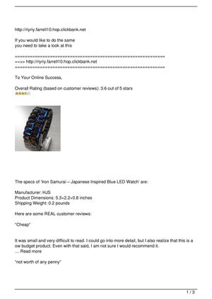 Iron Samurai – Japanese Inspired Blue LED Watch