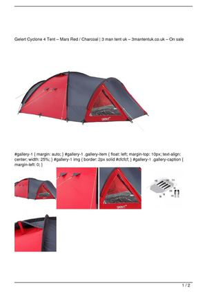 Gelert Cyclone 4 Tent – Mars Red / Charcoal Promo Offer