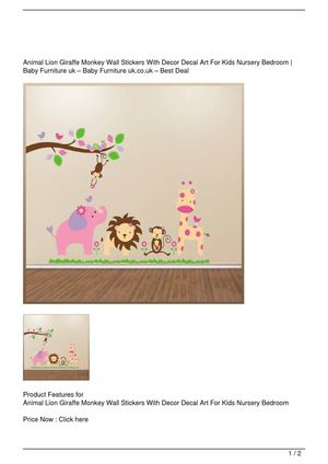 Animal Lion Giraffe Monkey Wall Stickers With Decor Decal Art For Kids Nursery Bedroom Big SALE