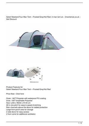 Gelert Newland Four Man Tent – Frosted Grey/Hot Red Discount !!