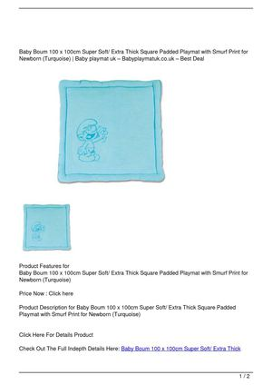 Baby Boum 100 x 100cm Super Soft/ Extra Thick Square Padded Playmat with Smurf Print for Newborn (Turquoise) On Sale