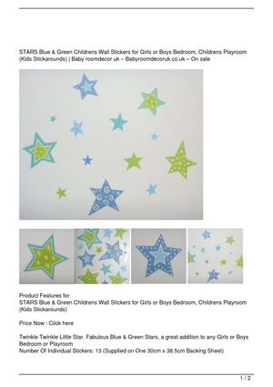 STARS Blue & Green Childrens Wall Stickers for Girls or Boys Bedroom, Childrens Playroom (Kids Stickarounds) Discount !!
