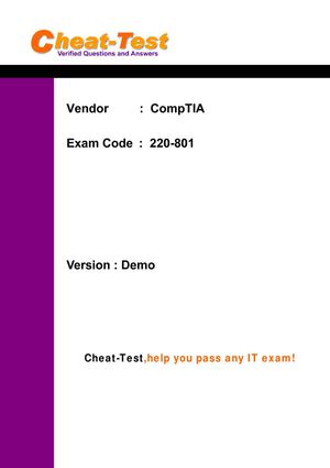 Best CompTIA A+ 220-801 Test Questions and Answers for A+ certification exam - Cheat-Test.com