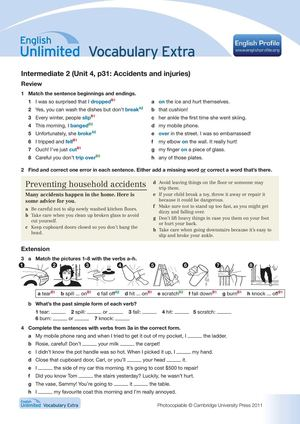 Accidents and injuries worksheet