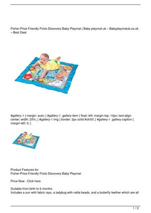 Fisher-Price Friendly Firsts Discovery Baby Playmat Big Discount