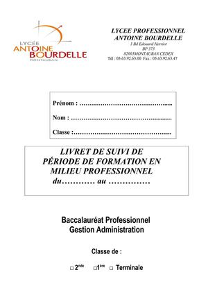 rapport de stage bac pro gestion administration