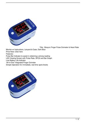 Calamo Biosync Finger Pulse Oximeter Amp Heart Rate Monitor W