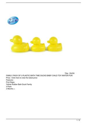 DUCK FAMILY PACK OF 3 PLASTIC BATH TIME DUCKS BABY CHILD TOY WATER FUN Big Discount