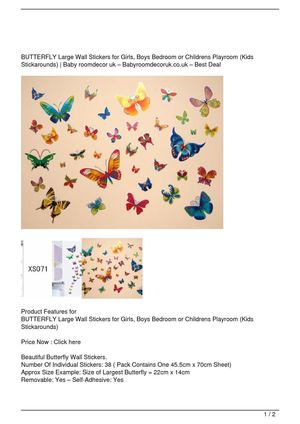 BUTTERFLY Large Wall Stickers for Girls, Boys Bedroom or Childrens Playroom (Kids Stickarounds) SALE