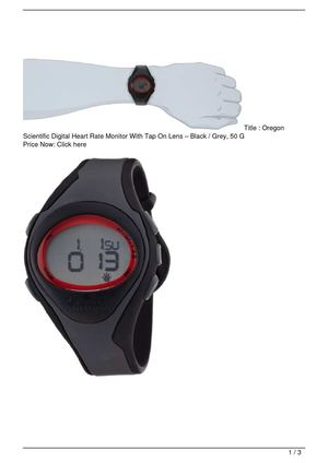 Oregon Scientific Digital Heart Rate Monitor With Tap On Lens – Black / Grey, 50 G SALE
