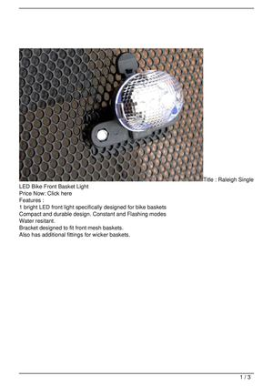 Raleigh Single LED Bike Front Basket Light Promo Offer