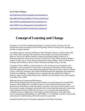 Concept of Learning and Change
