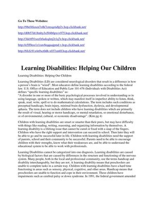 Learning Disabilities Helping Our Children