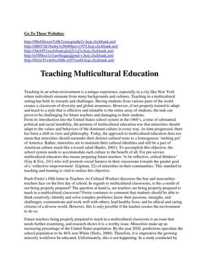 Teaching Multicultural Education