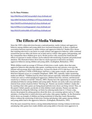 The Effects of Media Violence