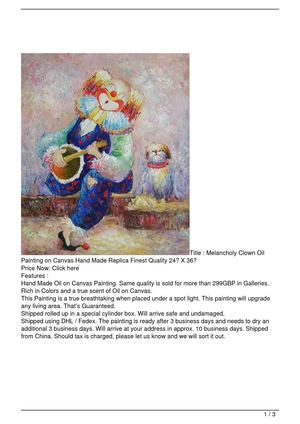Melancholy Clown Oil Painting on Canvas Hand Made Replica Finest Quality 24″ X 36″ Discount !!