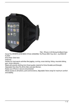 iPhone 4 4S Strong ArmBand Case Cover For SPORTS GYM BIKE CYCLE JOGGING, Tie Phone With Your Arm – by KING OF FLASH On Sale
