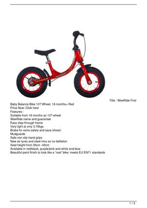 WeeRide First Baby Balance Bike 10″ Wheel, 18 months+ Red Promo Offer