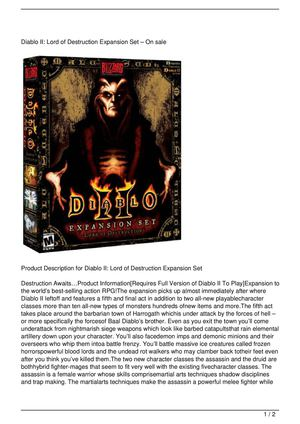 Diablo II: Lord of Destruction Expansion Set Discount !!