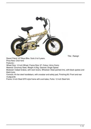 Raleigh Desert Patrol 12″ Boys Bike. Suits 3 to 5 years. Discount !!