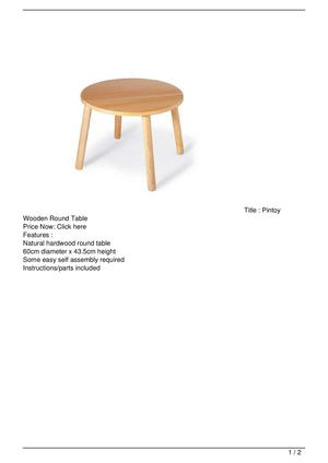 Pintoy Wooden Round Table Promo Offer
