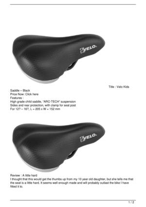 Velo Kids Saddle – Black On Sale
