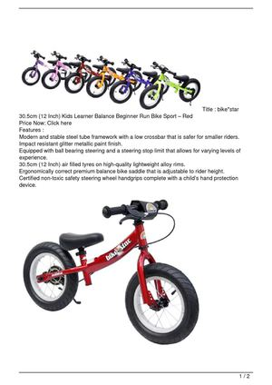 bike*star 30.5cm (12 Inch) Kids Learner Balance Beginner Run Bike Sport – Red Get Rabate