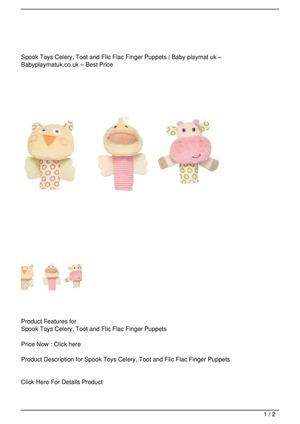 Spook Toys Celery, Toot and Flic Flac Finger Puppets On Sale