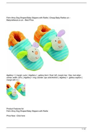 Fehn Ahoy Dog Shaped Baby Slippers with Rattle SALE
