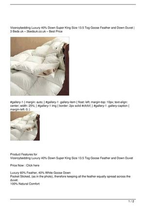 Viceroybedding Luxury 40% Down Super King Size 13.5 Tog Goose Feather and Down Duvet Big Discount