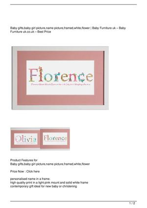 Baby gifts,baby girl picture,name picture,framed,white,flower Discount !!