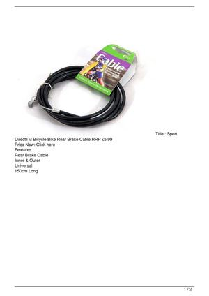 Sport DirectTM Bicycle Bike Rear Brake Cable RRP £5.99 Discount !!