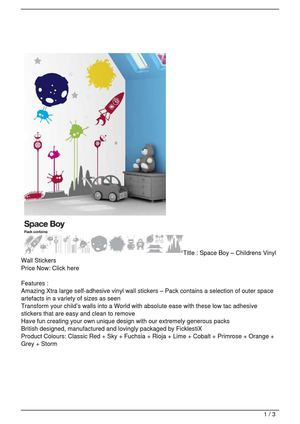 Space Boy – Childrens Vinyl Wall Stickers Big Discount