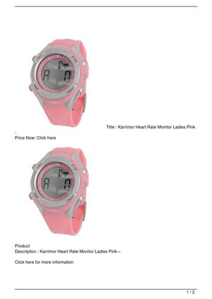 Karrimor Heart Rate Monitor Ladies Pink – Get Rabate