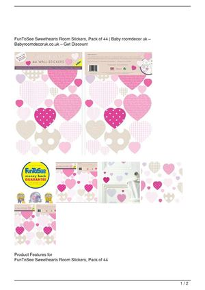 FunToSee Sweethearts Room Stickers, Pack of 44 SALE