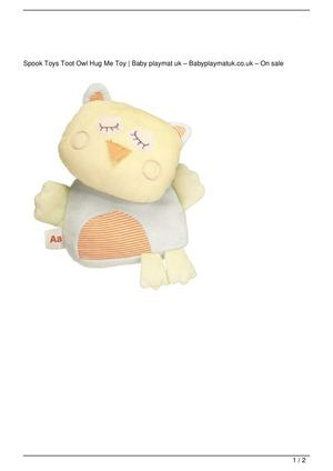 Spook Toys Toot Owl Hug Me Toy Promo Offer