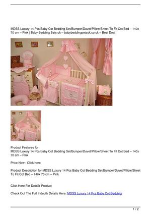 MDSS Luxury 14 Pcs Baby Cot Bedding Set/Bumper/Duvet/Pillow/Sheet To Fit Cot Bed – 140x 70 cm – Pink Promo Offer