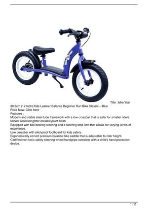 bike*star 30.5cm (12 Inch) Kids Learner Balance Beginner Run Bike Classic – Blue Discount !!